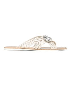 Carshoe   Car Shoe Jewel Embellished Sandals 37 Calf Leather/Leather/Rubber/Glass