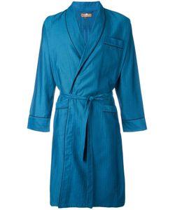 OTIS BATTERBEE | Petrol Herringbone Dressing Gown Xl Cotton