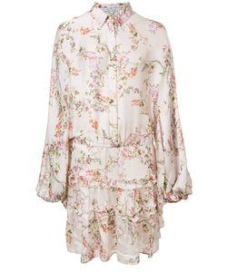 Alexis | Ruffle Trim Shirt Dress Small Polyester