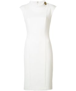 Badgley Mischka | Buttoned Neck Fitted Dress 10 Polyester/Spandex/Elastane