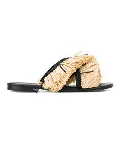 Avec Modération | Fringed Trim Flip Flops Size 36