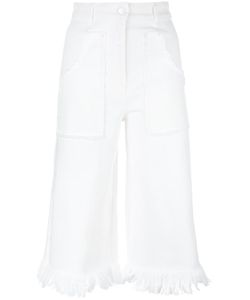Love Moschino | Frayed Cropped Trousers Size 40 Cotton/Spandex/Elastane
