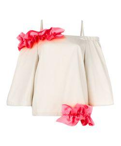 PASKAL   Ruffle Detail Top Small Polyester/Cotton/Spandex/Elastane