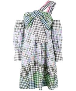 Peter Pilotto | One-Shoulder Diamond Print Gingham Dress 6