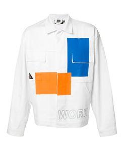Andrea Crews   Blocks Print Denim Jacket Large Cotton