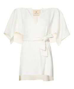 By. Bonnie Young | Front Slit Belted Blouse