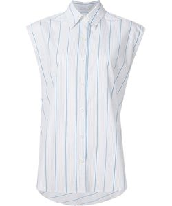 TOME | Striped Sleeveless Lace Back Shirt 6 Cotton