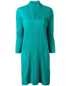 PLEATS PLEASE BY ISSEY MIYAKE   Pleated V-Neck Dress