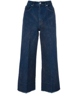 Cedric Charlier | Cédric Charlier Glitter Detail Cropped Jeans 38 Cotton