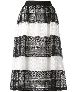 Alice + Olivia | Striped Lace Skirt 6 Polyester/Spandex/Elastane