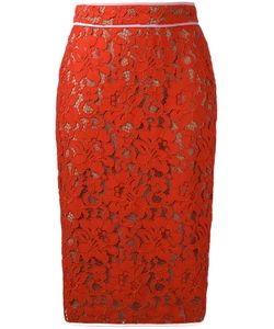 MSGM | Lace Pencil Skirt 40 Cotton/Polyamide/Viscose/Polyester