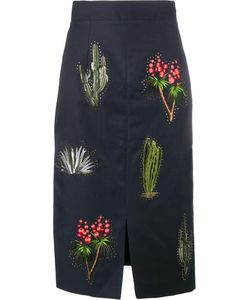 Stella Mccartney | Cactus Embroide Pencil Skirt 40 Cotton/Linen/Flax/Acetate