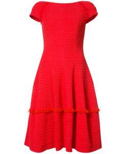 Talbot Runhof   Frayed Trim Dress 42 Cotton/Polyimide/Spandex/Elastane