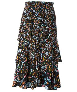 Peter Pilotto | Print Ruffled Skirt 10 Silk