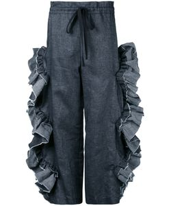 Roberts Wood | Scallop Ruffle Cut-Out Trousers Medium Cotton/Linen/Flax