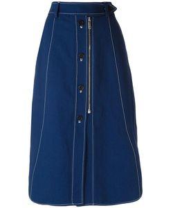SportMax | Stitch Detail Midi Skirt 42 Cotton/Linen/Flax/Viscose