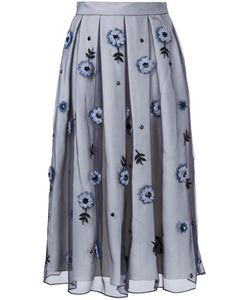 Holly Fulton | Flower Embellished Pleated Skirt Size 12 Silk