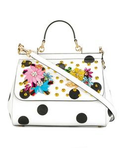 Dolce & Gabbana | Medium Sicily Tote Leather/Viscose/Crystal/Calf Leather