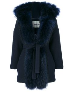 AVA ADORE | Furry Lapel Belted Coat Women Acrylic/Wool/Racoon