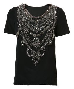 Marchesa | Chain Embellished T-Shirt 8 Silk