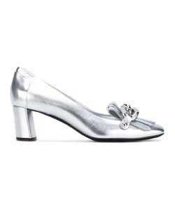 Casadei   Mid Heel Fringed Loafers