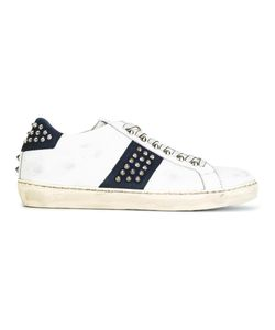 Leather Crown | Studded Lace-Up Sneakers 42 Leather/Rubber/Cotton