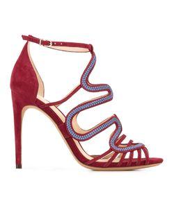 Alexandre Birman | Waved Motif Sandals 38 Cotton/Leather/Suede