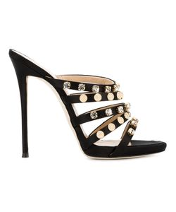 Giuseppe Zanotti Design | Embellished Strap Sandals 40 Silk/Leather