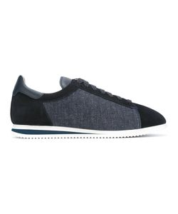 Brunello Cucinelli   Denim Laterals Lace-Up Sneakers 41.5 Suede/Cotton/Leather/Rubber