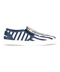 Dolce & Gabbana   Stripe Embellished Trainers 37.5 Cotton/Leather/Rubber