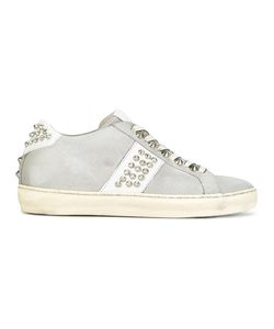 Leather Crown | Studded Lace-Up Sneakers 36 Leather/Cotton/Rubber