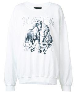 BAJA EAST | Horse Print Sweatshirt Womens Size 4 Cotton/Polyester/Modal