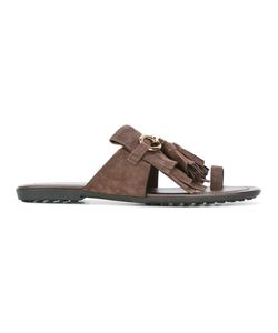 Tod'S | Fringed Sandals 38.5 Leather/Suede/Rubber