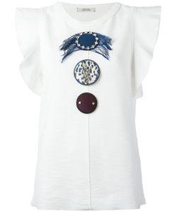 Dorothee Schumacher | Ruffled Sleeves Embellished T-Shirt Size 2