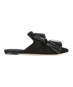 SANAYI 313 | Tassel Front Slip-On Mules 37 Cotton/Raffia/Cotton/Leather