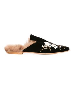 GIA COUTURE | Embroide Slippers 41 Leather/Velvet/Wood/Artificial Fur