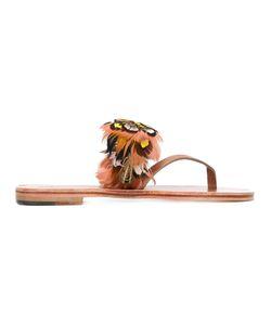 ÁLVARO | Alberta Sandals 40 Calf Leather/Leather/Feather