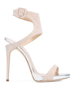 Giuseppe Zanotti Design | Notched Heel Sandals Size 36 Leather/Suede/Patent