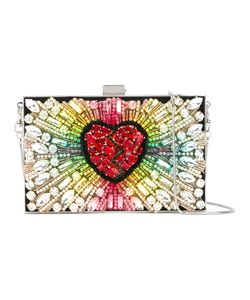 Gedebe | Crystal Heart Clutch Bag Metal