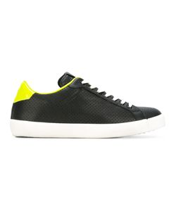 Leather Crown | Neon Detail Lace-Up Sneakers 42 Leather/Cotton/Rubber