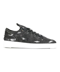 Filling Pieces | Distressed Lace-Up Sneakers 40 Cotton/Leather/Rubber
