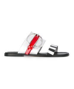 Pollini | Striped Slip-On Sandals Size 36