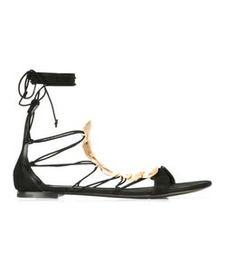 Casadei | Reptillian Detail Lace Up Sandals Leather/Nappa