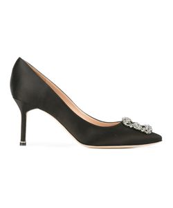 Manolo Blahnik | Hangisi Mid Heel Pumps Size 38 Leather/Silk