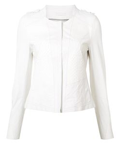 Sylvie Schimmel | Paneled Collarless Biker Jacket 38 Lamb