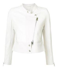 Sylvie Schimmel | Collarless Biker Jacket 42 Lamb Skin/Python