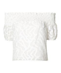 Zac Zac Posen | Off-Shoulder Jacquard Top Large Polyester/Cotton/Nylon/Polyester