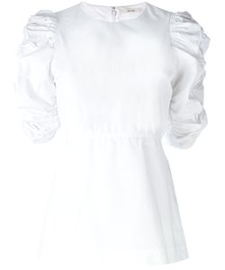 Céline   Poplin Ruched Sleeve Top Size 40