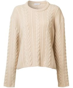 RYAN ROCHE   Cable Knit Cropped Jumper Medium Cashmere