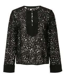 Jenni Kayne | Front Placket Lace Blouse Large Cotton/Nylon/Silk